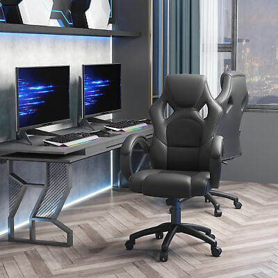 Racing Car Style Office Chair Executive Seat Adjustable Height PU Leather Mesh