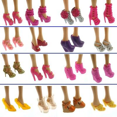 60 Pair Heel Shoes Boots Barbie Doll Dresses Clothes Mixed Different Accessories