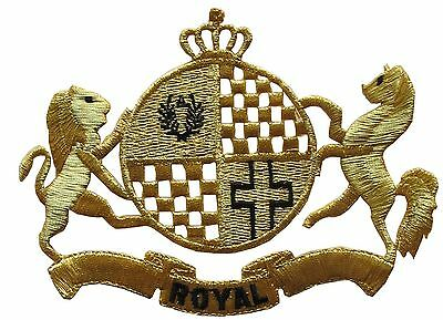 "#2334 8"" Royal Crown,Lion,Horse w/ROYAL word Embroidery Iron On Applique Patch"