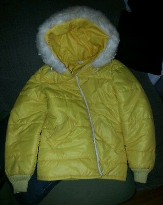 Vintage jacket coat 70s Raven puffy Womens canary Yellow hood faux fur clothing
