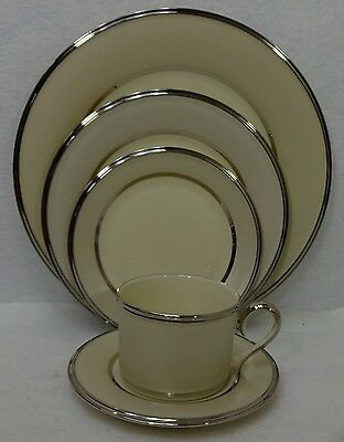 LENOX china IVORY FROST pttn 5-piece Place Setting Cup Saucer Dinner Salad Bread
