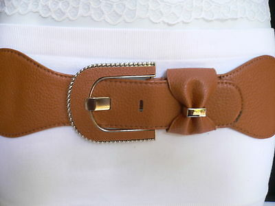 New Women Belt Fashion Elastic Hip Waist Brown Big Bow Silver Buckle  S M L