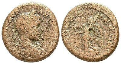 ELAGABALUS AE24 Thessalonica - Macedonia (Nike with Kabeiros ) (11.7 gr , 24 mm)
