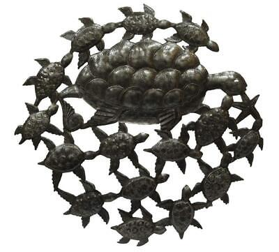 HAITIAN METAL WALL Art Handcrafted Sculpture Hanging Sea Turtles ...