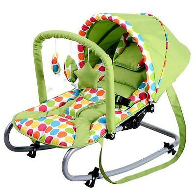 Grace Baby Harmony New Born Baby Rocker Seat with Canopy - Green