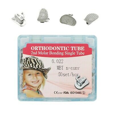 50 Set Dental Orthodontic Buccal Tubes 022 MBT Second 2nd Molar Bonding Non-Con