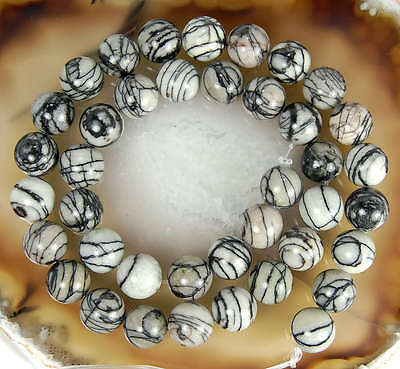 10mm Natural Spider Web Jasper Round Beads 15.5""