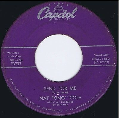 """NAT """"KING"""" COLE """"Send For Me""""/""""My Personal Possession"""" Vinyl 45 Record VG 1957"""