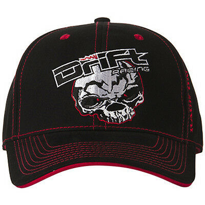 Drift Racing Adult Drift Racing Skull Baseball Cap Hat- Black / Red - 5245-506