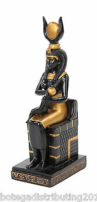 Egyptian Siting Isis Statue Black Gold Color Statue Ancient Figurine