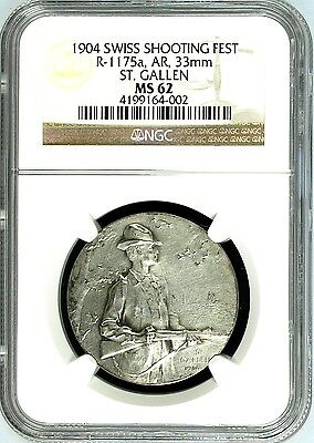 Swiss 1904 Silver Participant Medal Shooting Fest St Gallen R-1175a NGC MS62 Box