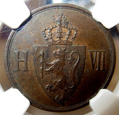 1907 Norway Bronze Two Ore Coin Ngc About Uncirculated 55 Brown