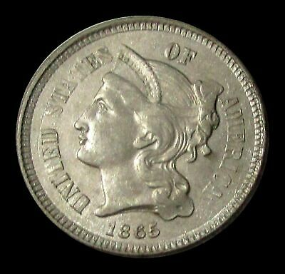 1865 Nickel Three-Cent Coin About Uncirculated Condition