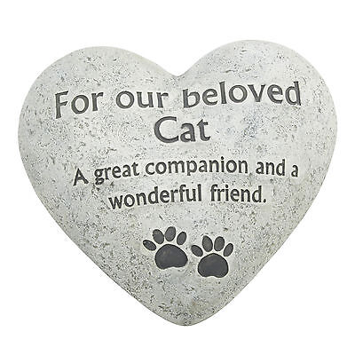 Memorial For Beloved Cat Heart Shaped Heavy Grave Ornament Funeral Tribute