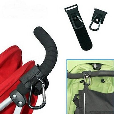 Hot Black Pram Pushchair Metal Clip Hooks Shopping Bag Hook Stroller Holder LJ