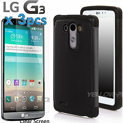 Shockproof Hard Armor Phone Case Cover For LG G3+ 3 Pack Clear Screen Protector