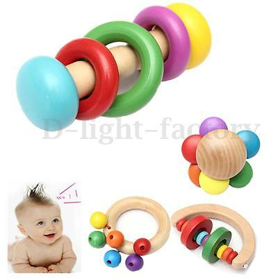 Kid Baby Children Wooden Musical Bell Handbell Rattle Toy Education Instrument