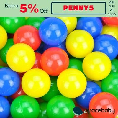 Indoor Outdoor 100 Colour Plastic Soft Play Balls - Playpen Tent Cubby House