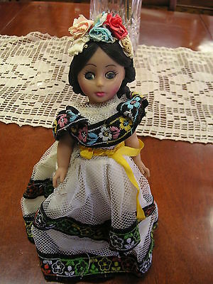 """9.5"""" Porcelain DOLL w/ STAND ORIGINAL DRESS Good condition - Sold As/Is"""