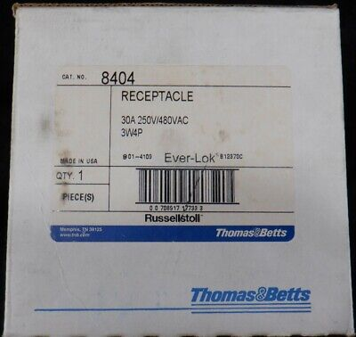 Thomas & Betts - Russellstoll 8404 RECPT 30A 480V 3W 4P  New In Box