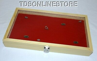 144 Ring Natural Wood Glass Top Jewelry Display Red