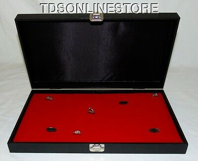 144 Ring Traveling Wood Display Case With Hinged Lid Red