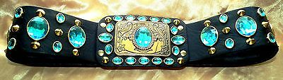 Elvis Style Luxury Puffa Shirt  Belt In Black With Turquoise Jems,