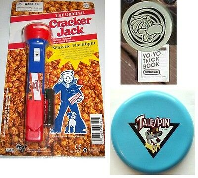 Sonny butterfly yo yo, Tale Spin frisbee, Cracker Jack Whistle Flashlight
