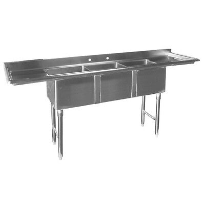 ACE 3 Compartment Stainless Bar Sink 10x14x10  2 Drainboards ETL SE10143DB5