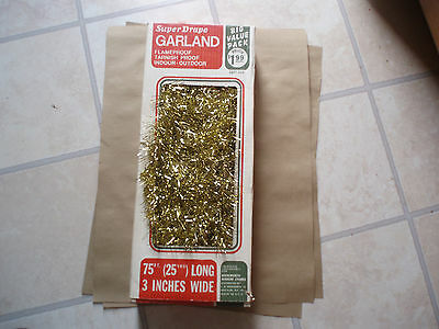 Vintage Box Woolworth 75 Ft. Gold Super Drape Christmas Tree Garland