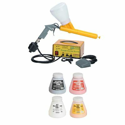10–30 PSI Powder Coating System & Four 16 oz Paint Black White Red Yellow Auto