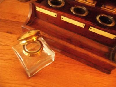 Antique Vintage Style Glass Ink Bottle Inkwell Brass Flip-Top Lid For Slope/box