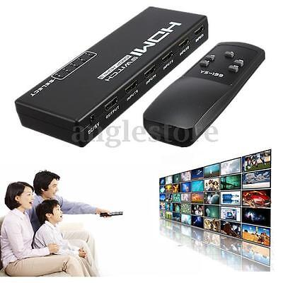 5 Port 1080P Video HDMI Commutateur Switch Splitter Télécommande Pr HDTV PS3 DVD