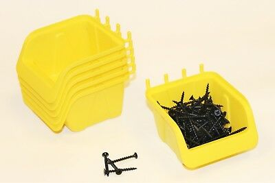 PEG BOARD BINS 10 PACK Hooks to Peg Tool Board - Workbench- FREE SHIPPING YELLOW