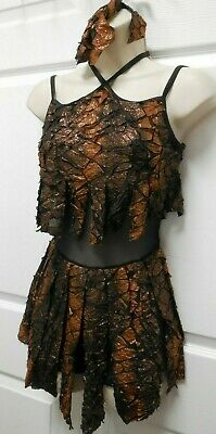 NWT Skirted shorty unitard copper foiled camisole costume contemporary child