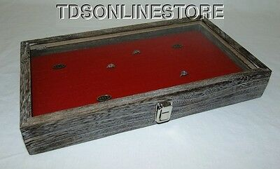 Rustic Antique Coffee Color 144 Ring Glass Top Display Case Red Insert