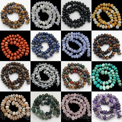 "8-11mm Natural Gemstones Spacer Loose Beads For Jewelry Make 7.5"" Free shipping"