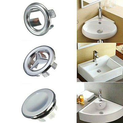 3 Types Bathroom Basin Spare Sink Round Overflow Cover Tidy Trim Chrome Insert