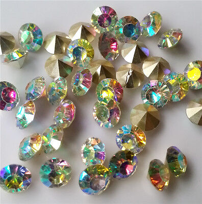 20/1000Pcs 8mm AB Point back Rhinestone Crystal Glass Chatons SS38