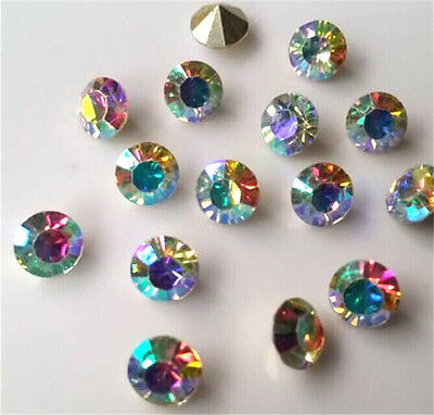 100-1000pcs 4mm AB mixed Point back Rhinestone Crystal Glass Chatons SS16