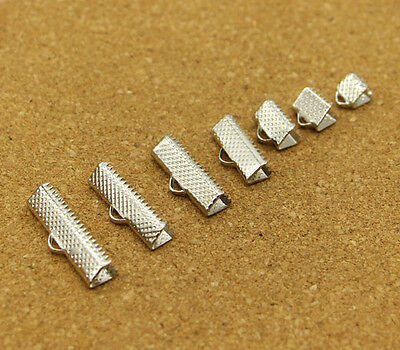 Ribbon End Cap Crimp Beads 6mm 8mm 10mm 16mm 20mm 22mm 25mm Silver Plated Bronze