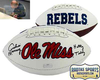 Archie Manning Autographed/Signed Ole Miss Rebels NCAA Logo Football Hotty Toddy
