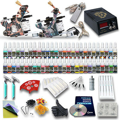 Professional Complete Tattoo Kit 2 Top Machine Gun 54 Color Ink 20 Needles