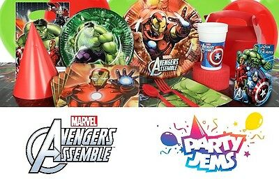 Marvel Avengers Assemble Birthday Partyware Tablecloth Plates Cups Napkins Bags