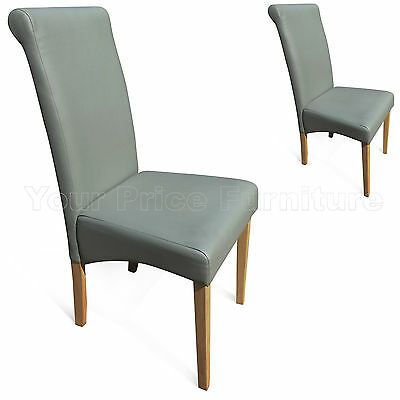 2 Matt Grey Faux Leather Scroll Roll Top Dining Chairs Oak Leg Free Delivery