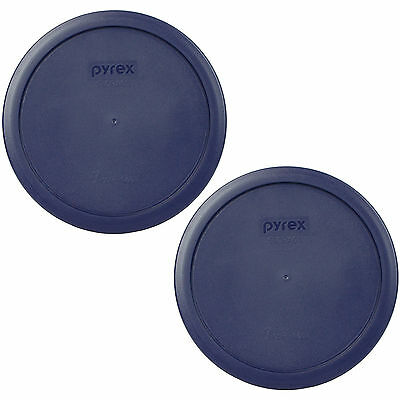 Pyrex 2 Pack Blue Plastic Round 6/7 Cup Storage Lid Cover 7402-PC for Glass Bowl