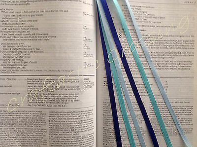 BLUE HUES multi page bookmark ribbons Bible, cookbook, text book handmade