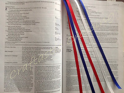 Bookmark ribbons multi page for Bible, cookbook textbook RED WHITE BLUE handmade