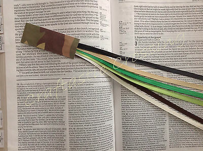 Bookmark 6 ribbons multi page, Bible, cookbook, textbooks CAMOUFLAGE handmade