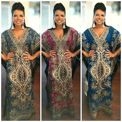 Taj Mahal Printed Boho Maxi Kaftan Dress Cover Up Animal Paisley Moroccan S-3X